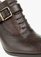 Divarese Bağcıklı Kalın Topuklu Ayakkabı Kahve